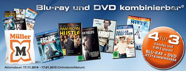 Müller: 4 Blu-rays oder DVDs kaufen, nur 3 davon bezahlen & Konter von Amazon