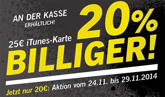Lidl Deutschland: 25 € iTunes-Guthaben für 20 € - 20% Ersparnis