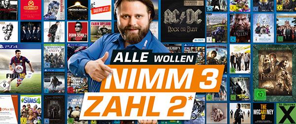 Nimm 3 Zahl 2 bei Saturn Deutschland mit Filmen, Games, Musik und Software