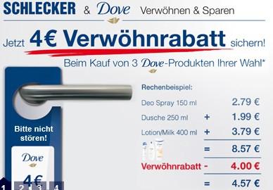4€ Verwöhnrabatt auf Dove Produkte - bis zu 50% Rabatt