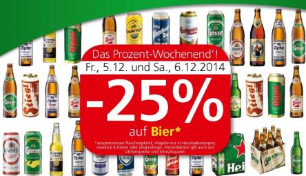 25% Rabatt auf alle Biere bei Interspar, Spar & Eurospar – am 5. und 6. Dezember 2014