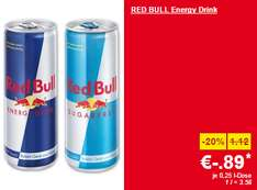 Lidl Supersamstag – Red Bull & Red Bull Sugarfree 250 ml-Dose um 0,89 € – nur heute