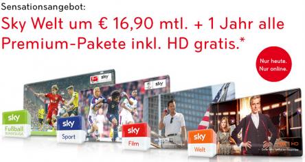 [Schnell!] Sky Österreich: 1 Jahr Sky Welt + alle Premium-Pakete (inkl. Sky Go und HD) für 16,90 € monatlich