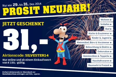 Möbelix: 31 € Gutschein ab 150 € Bestellwert - bis zu 21% sparen