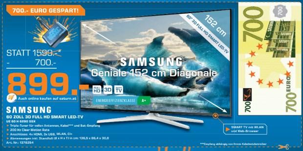 Samsung UE60H6290 für 899 € statt 1061 € bei Saturn - bis 10.01.2015