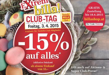 Billa: 15% Rabatt auf fast Alles mit Billa-Karte am 3.4.2015