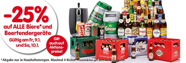 25% Rabatt alle Biere und Beertender-Geräte bei Interspar - am 09. und 10. Januar