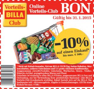 Billa: 10% Gutschein auf den Einkauf bis 31.1.2015