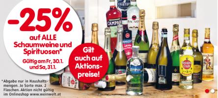 25% Rabatt auf alle Schaumweine & Spirituosen bei Spar, Eurospar & Interspar – am Freitag und Samstag