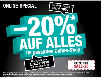 Hervis Sports: 20% auf den gesamten Einkauf ab 100 €