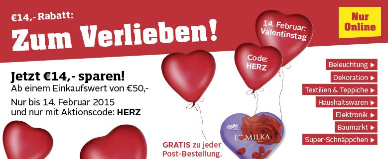 """Möbelix: 14 € Valentinstags-Gutschein (ab 50 €) + gratis """"Milka-Herzpralinen"""" - bis zu 30% sparen"""