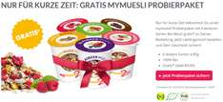 Mymuesli: gratis 6er Probierpaket für Bestellungen ab 10 €