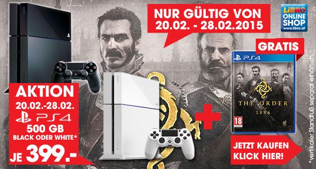 """PlayStation 4 (weiß + schwarz) + """"The Order 1886"""" um 399 € - bis zu 9% sparen"""
