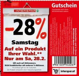28% Rabatt bei Interspar - nur am Samstag, den 28. Februar *Update*