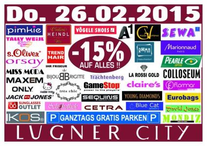 Lugner City - 15% auf Alles und ganztags gratis Parken - nur heute 26.2.2015