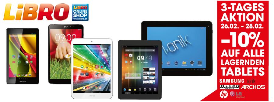 Libro: 10% Rabatt auf alle lagerndes Tablets - gültig bis 28.2.2015