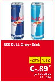 Lidl Supersamstag – Red Bull & Red Bull Sugarfree 250 ml-Dose um 0,89 € – nur am Samstag bei Lidl