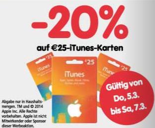 Interspar: 25 € iTunes-Karten für 20 € – 20% sparen
