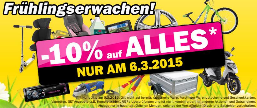 Forstinger: 10% auf Alles - nur heute (6.3.2015)