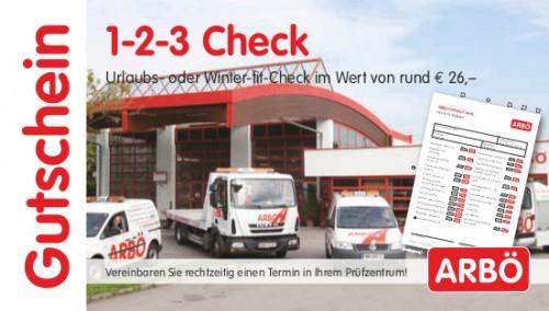"""""""ARBÖ-1-2-3 Check"""" kostenlos (fast) österreichweit - 26 € sparen"""