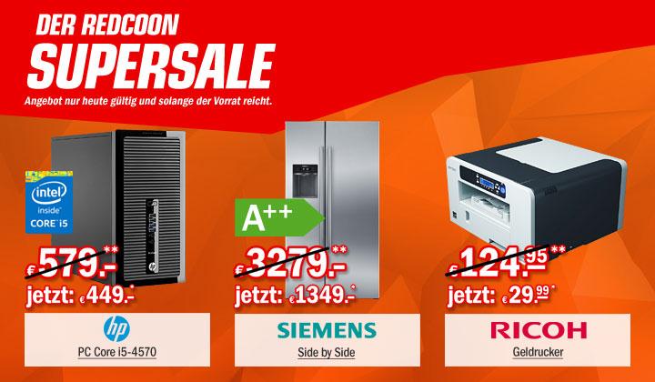 Redcoon Supersale am 31. März 2015 - u.a. mit: Siemens KA 62 DV 75 Kühl-Gefrierkombination für 1360,44€