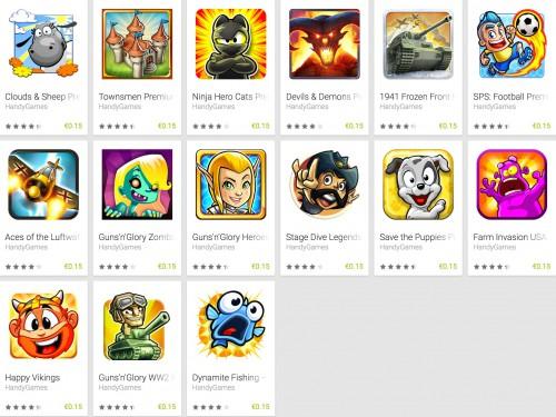 """Android: 15 Spiele von """"Handygames"""" für je 0,15€!! im Google PlayStore"""