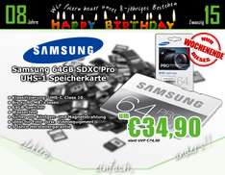 0815.at: Samsung Memory 64GB PRO SDXC UHS-I Grade 1 Class 10 Speicherkarte für 39,89€