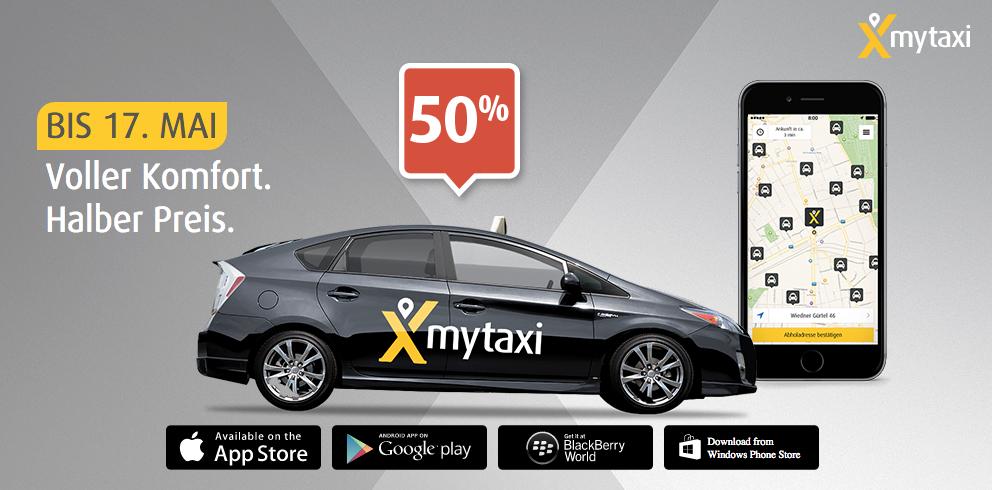 myTaxi: 50% Rabatt auf jede Taxifahrt bis zum 31. Mai