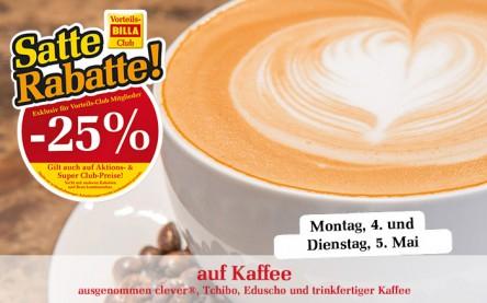 Billa: 25% auf Kaffee - nur mehr heute - 5.5.2015