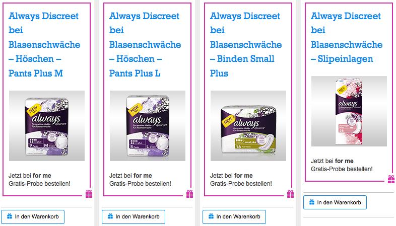 Always Discreet (Binden, Höschen, Slipeinlagen) kostenlos bestellen - bis zu 20 € sparen