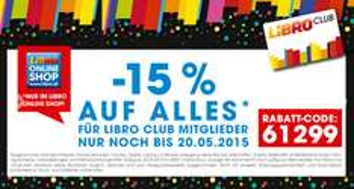 Libro: 15% auf ausgewähltes Sortiment - nur bis zum 20.5.2015