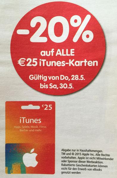 Interspar: 25 €iTunes Guthaben um 20 € - 20% sparen | Lidl: 20% auf alle 15€, 25€, 50€ Karten!