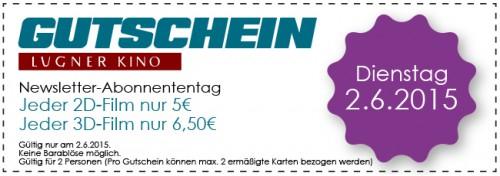 Lugner Kino: Jeder 2D-Film nur 5€ (3D für 6,50€) - Nur am Dienstag, 2. Juni 2015