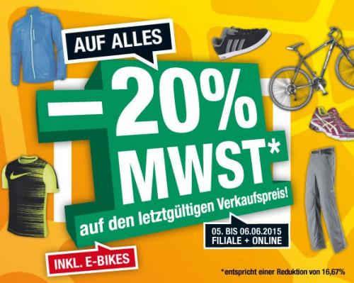 Hervis: Mehrwertsteuer geschenkt - 16,67% Rabatt auf den kompletten Einkauf