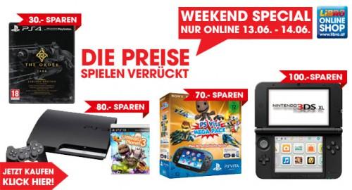 Libro Weekend Special vom 13. - 14. Juni - u.a. mit Nintendo 3DS XL für 94€