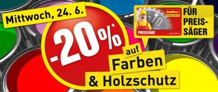 [Baumax - nur für Preissäger] 20% Rabatt auf Farben & Holzschutz - gültig am 24.06.2015