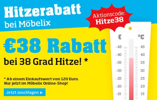 Möbelix: 38€ Hitzerabatt ab einem Einkaufswert von 120€