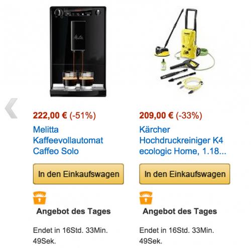 [Amazon Prime Day] Kärcher Hochdruckreiniger K4 ecologic Home für 209€ | Melitta E 950-222 Kaffeevollautomat Caffeo für 222€