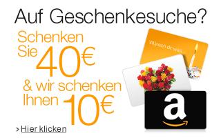 [Amazon.de] 40€ Geschenkgutschein(e) kaufen - 10€ Gutschein gratis dazu bekommen