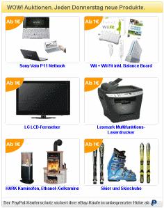 Schnäppchencheck für die Ebay WOW! Auktionen - KW44
