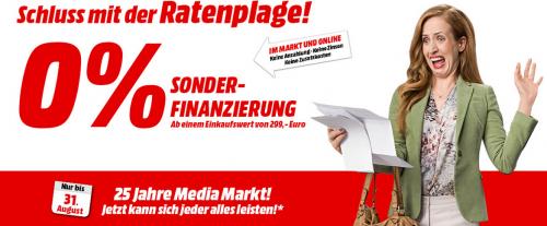 """Media Markt: """"0% Sonderfinanzierung"""" ab 299 € - bis 31.8.2015"""