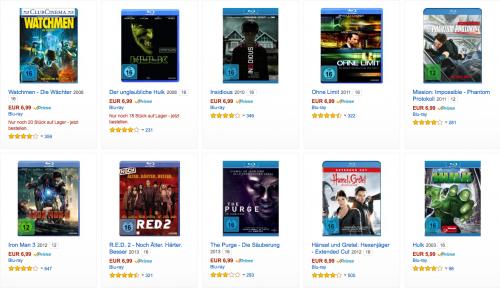 Amazon: 10 Blu-rays für 50€ - Über 99 Filme zur Auswahl