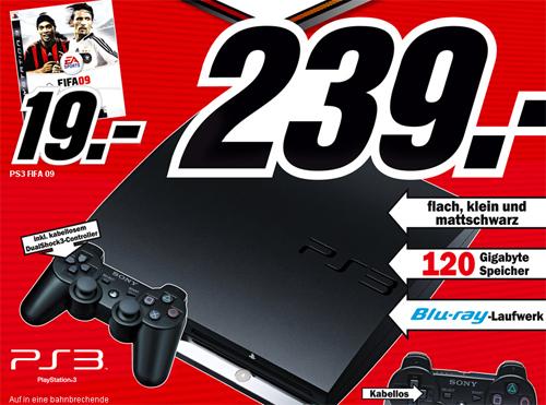 Sony PS3 Slim 120GB für 239€ bei Media Markt Deutschland