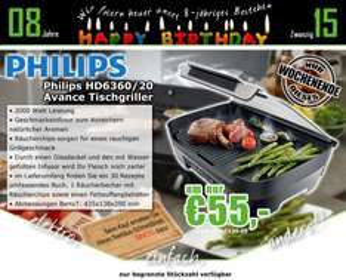0815.at: Philips HD6360/20 Tischgrill + Bambus-Schneidebrett für 55€
