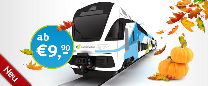 """Westbahn """"Spartage Herbst"""" - Bahntickets ab 9,90 € - vom 1.10. bis 30.11.2015"""