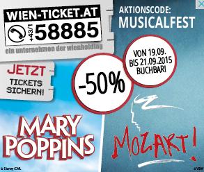 """Wien-Ticket: """"Mozart"""" und """"Marry Poppins"""" - 50% Rabatt - nur heute (21.9.2015)"""