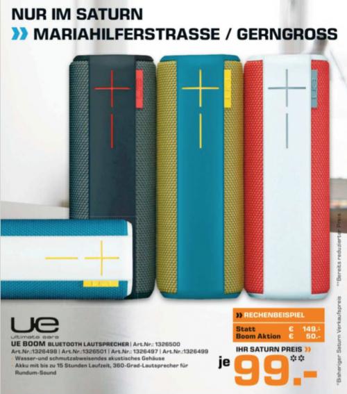 Saturn Gerngross: Logitech UE Boom tragbarer Bluetooth Lautsprecher für 94€