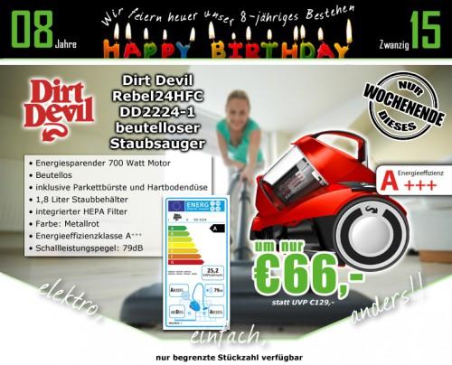 0815.at: Dirt Devil DD2224-1 rebel24HFC Singlecyclone Staubsauger ohne Beutel für 66€