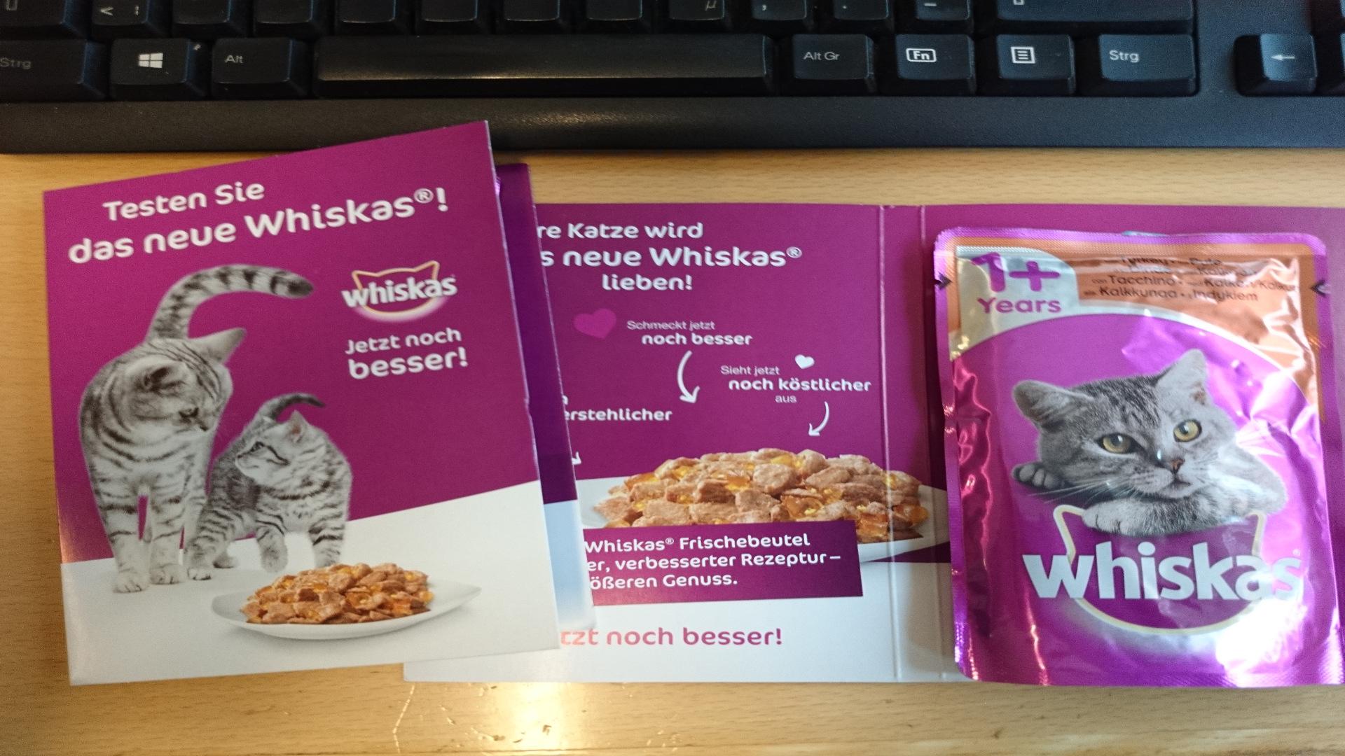 Gratis Whiskas Katzenfutterprobe in den Postfilialen