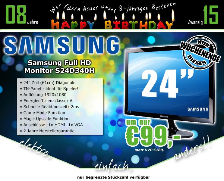 Samsung S24D340H 24 Zoll Full HD Monitor für 99€